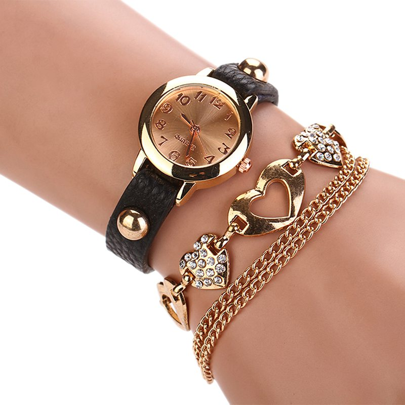 Luxury Diamond Women Watches Leather Heart Pendant Bangle Ladies ...