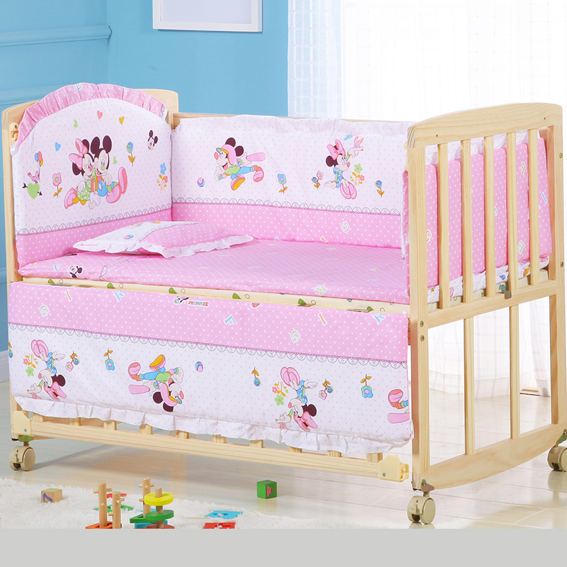 Natural Soild Wood Baby Multi-function Portable Bassinet Bed Crib Breathable Baby Kids Cradle Bed Protector