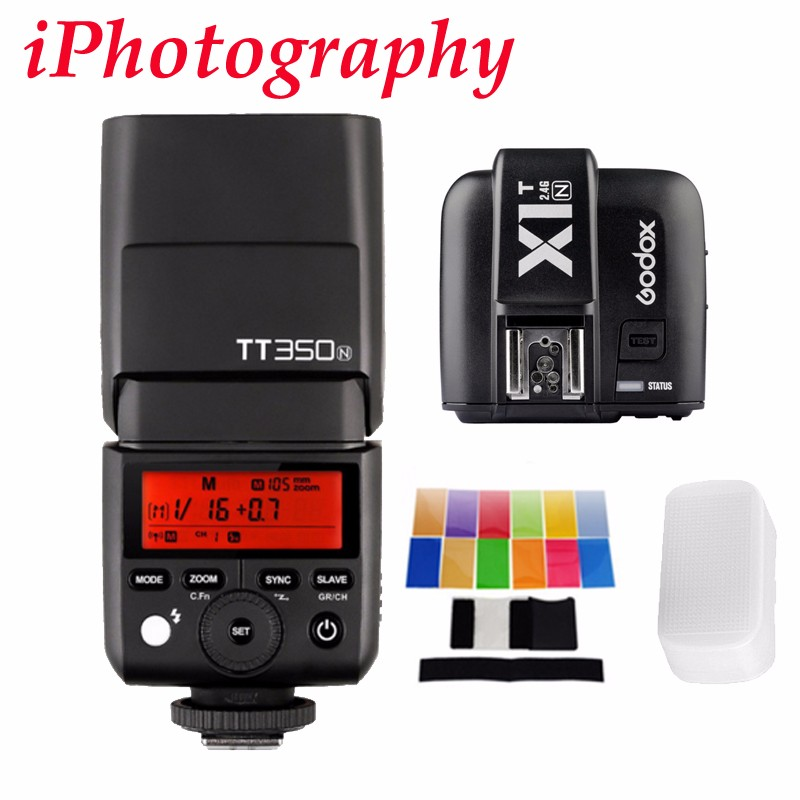 Godox TT350N 2.4G HSS 1/8000s GN36 TTL Wireless Flash + X1T-N for Nikon D750 D7000 D7100 D7200 D5100 D5200 D5400 D3300 D5600 godox v860iic v860iin v860iis x1t c x1t n x1t s hss 1 8000s gn60 ttl flash speedlite 2 4g transmission godox softbox filter