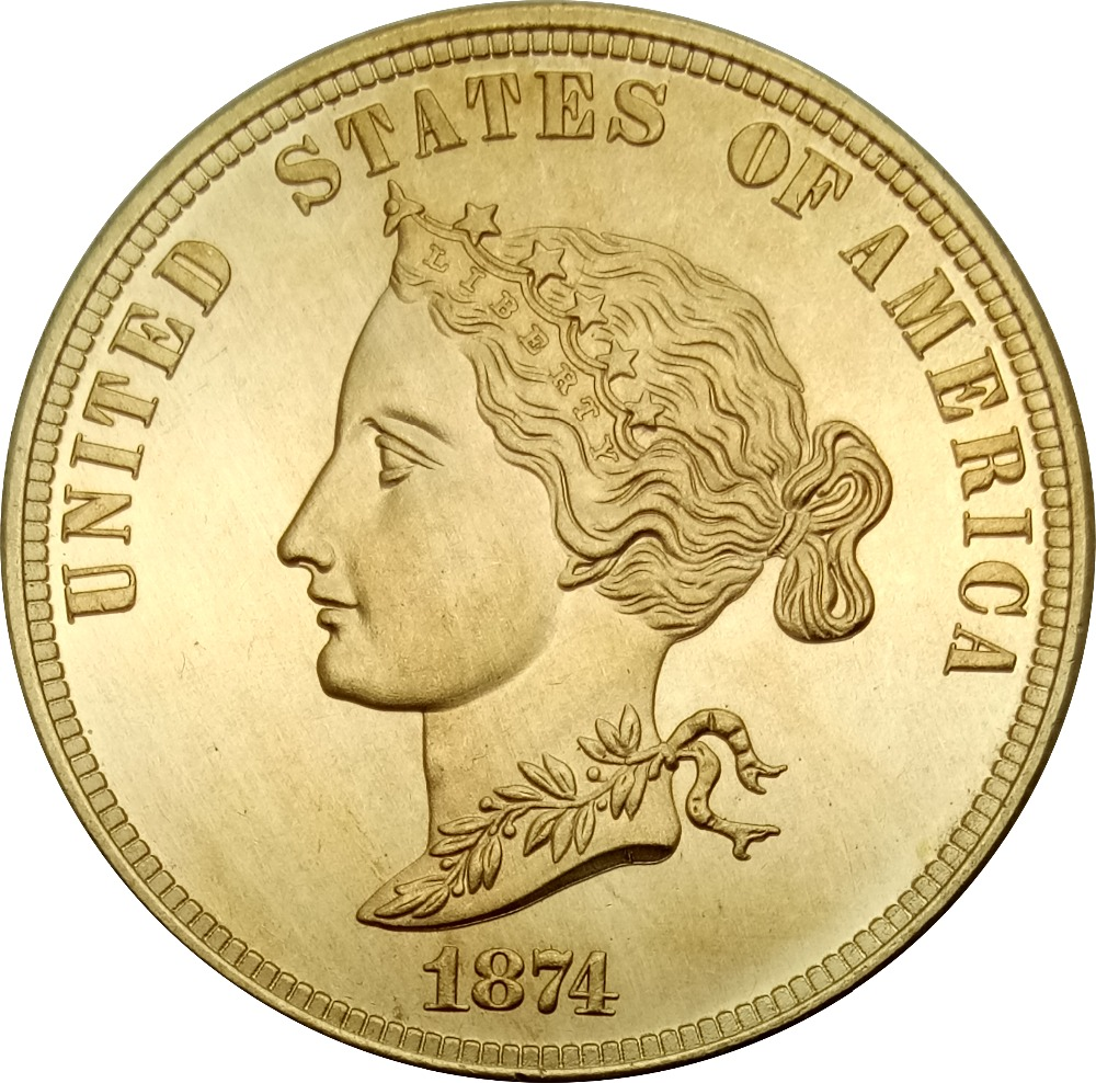 United States Of America Gold Coin 1874 Bickford Eagle 10 Ten Dollars Brass Metal Copy Coins