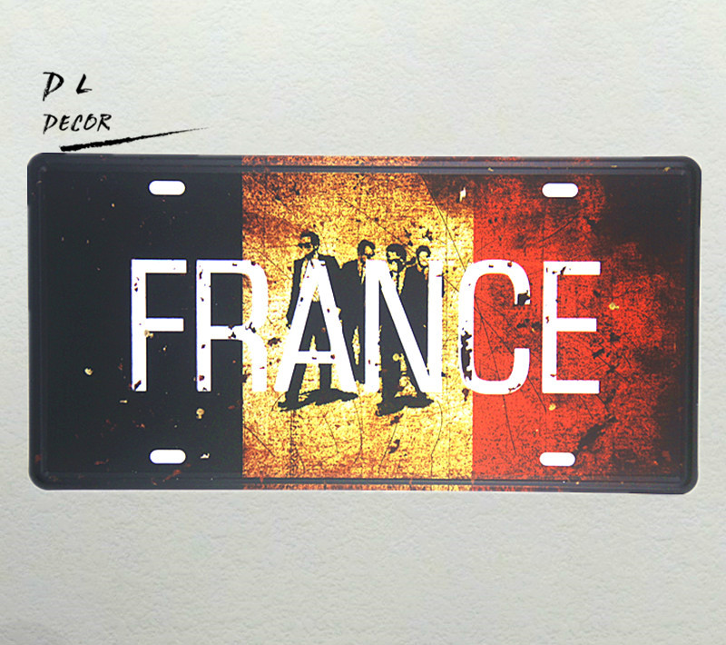 DL-FRANCE MAP License plate GARGE BAR CAFE Home Decor Sign NEW ART POSTER