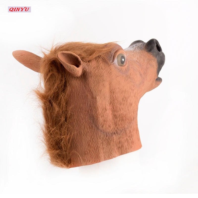 Horror Animal Mask for Halloween Carnaval Easter Funny  Horsehead Cosplay Silicone Masks  Halloween Props 6ZHH030
