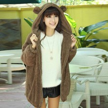 Women Lovely Flannel Winter Sweaters Bear or Rabbit Ear Shape Bunny Tail Fuzzy Hooded Outer