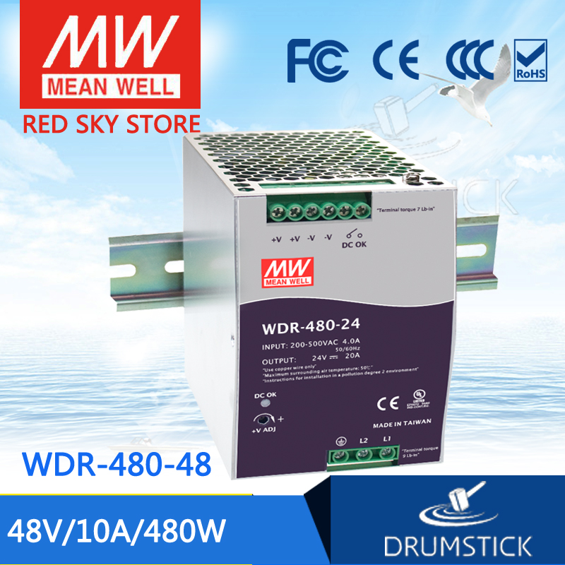 все цены на hot-selling MEAN WELL WDR-480-48 48V 10A meanwell WDR-480 48V 480W Single Output Industrial DIN RAIL Power Supply [Hot1] онлайн
