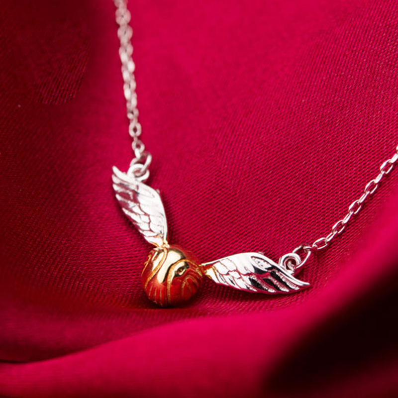 HP Golden Snitch 925 Silver Pendant Necklace The Deathly Hallows Wing Charm Quidditch Gold Color Snitch Necklace Cosplay Movie spin master игра домино disney тачки 3