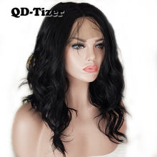 QD-Tizer Short loose Wave Hair Lace Wigs with Baby Hair Blac