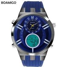 Deporte de los hombres relojes de cuarzo de moda reloj dual display analógico digital reloj BOAMIGO marca hombres de goma LED impermeable de los relojes de pulsera