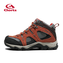 2016 Clorts Women Hiking Outdoor Shoes HKM-820I Cow Suede Mid-cut Waterproof Climbing Sport Sneakers for Women