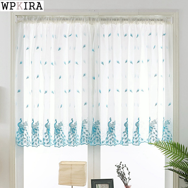 Short Curtain Embroidered Peacock Feather Sheer Tulle For Home Living Room Kitchen Door Balcony Window Screen Panel DL DS004&30|Curtains| |  - title=