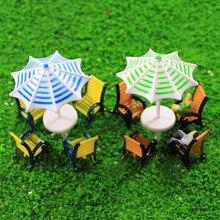 2 комплекта зонтов шезлонги скамейка набор модель поезд 1:50-1:150 O OO TT N масштаб TYS23 пластиковые модели зонтов