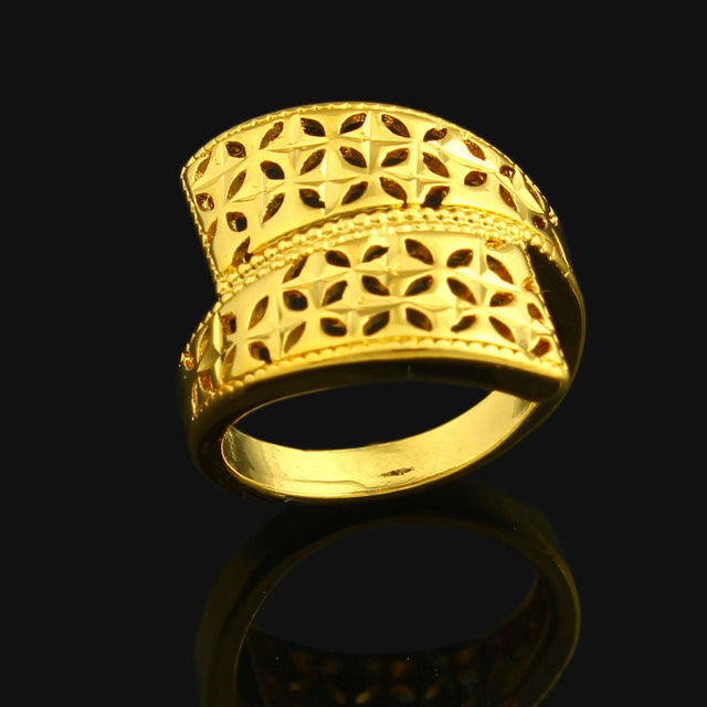 African Wedding Ring For Women 24k Gold Color India Ethiopian Nigerian