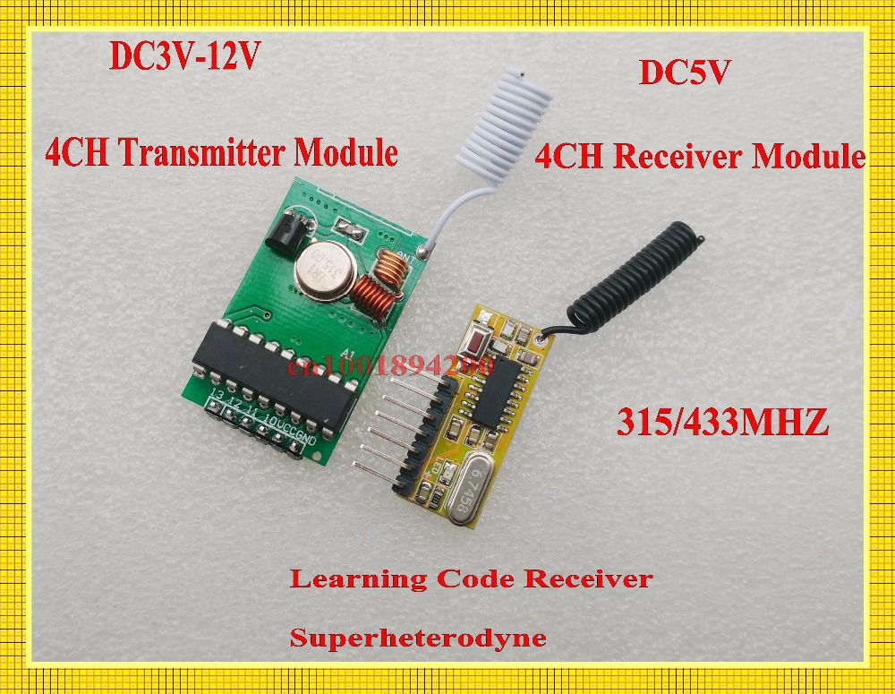 Long Distance Wireless Coding Transmitter Module PCB Board 1000m 3V-12V High Sensitivity Decoding RF Receiver Board DC5V 315/433 цена