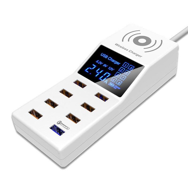 Charge rapide 3.0 Smart 40 W 8 Ports USB chargeur affichage numérique QI chargeur sans fil Charge prise de courant adaptateur bande EU US UK
