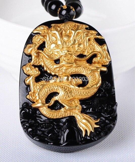 Бесплатная доставка, оптовая продажа, золотой, натуральный, черный обсидиан, резьба, дракон, счастливый амулет, кулон для женщин и мужчин, подвески, модные ювелирные изделия