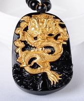 Free shipping Wholesale Gold Natural Black Obsidian Carving Dragon Lucky Amulet Pendant For Women Men pendants Fashion Jewelry