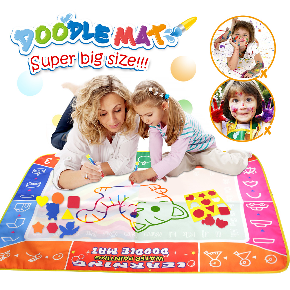 120*90cm Water Drawing Mat With Magic Pen Painting Drawing Board Canvas Painting Coloring Books For Kids Art Educational Toys
