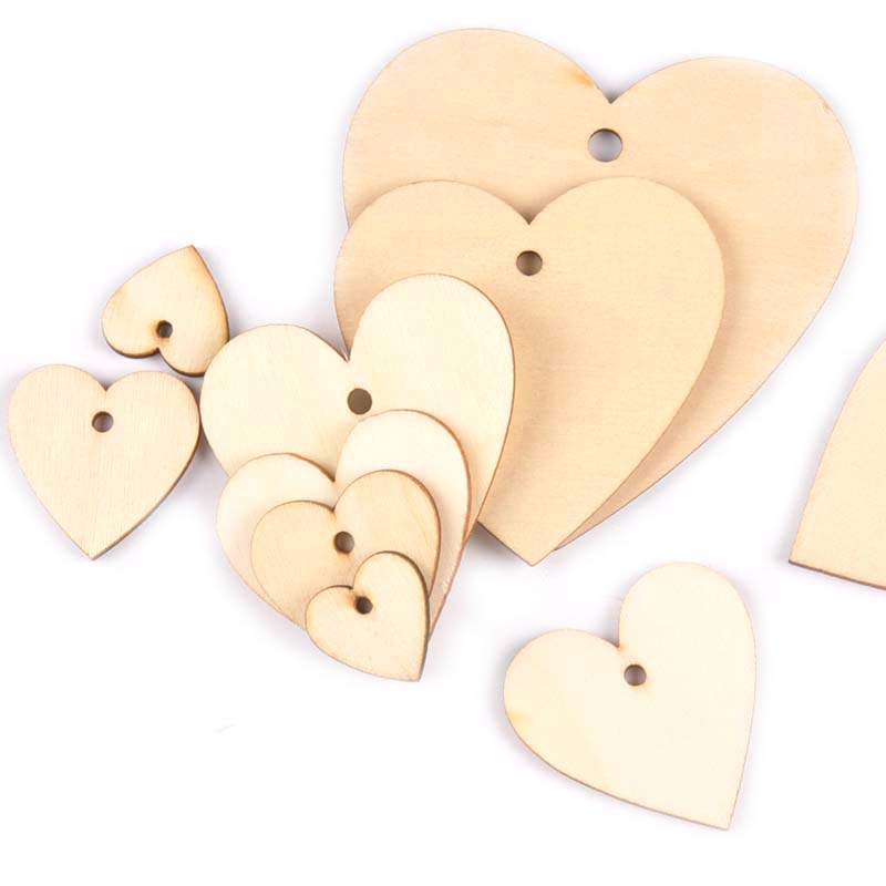 20-100mm One Holes Mix Heart Wooden Pattern Christmas Decorations For Home Ornament  DIY Wood Crafts For Home Ornaments M2190