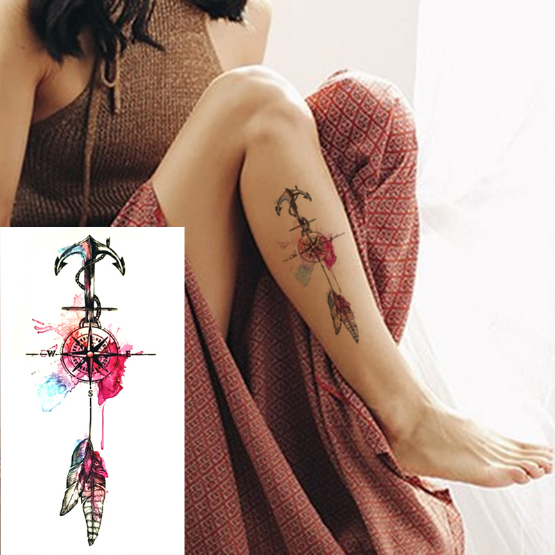 2017 New Anchor And Feathers Temporary Tattoos Waterproof Sexy Women Body Art Color Fake Tattoo Compass On Shoulder Arm