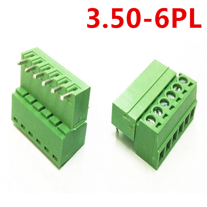 10sets 6Pin/Way 15EDG-3.5mm Pitch Universal Right Angle Bend Pluggable Type Screw Green Terminal Connector pin header and socket