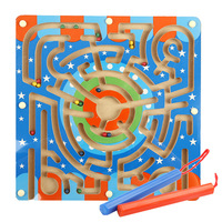 Kids Wood Parent child Interactive Animals Find Track Way Magnetic Maze Puzzle Slide Early Learning Educational Toys