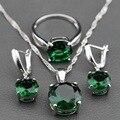 925 Sterling Silver Jewelry Set Ronda Verde Circón Pendientes/Colgante/Collar de Cadena/Anillo Para Las Mujeres Envío de La Joyería TZ140 caja