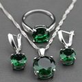 925 Sterling Silver Jewelry Set Round Green Zircon Earrings/Pendant/Necklace Chain/Ring For Women Free Jewelry Box TZ140