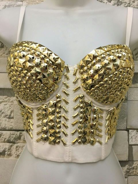 2016 Único Branco de Ouro Rhinestone Gaga Pérolas Diamante Push Up Night Club Bralette Bustier Cropped Top Colete Sutiã das Mulheres S-XL