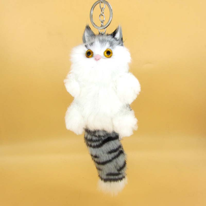 Cute Fluffy Lucky Cat Keychain Women Key Ring Holder Faux Bunny Rabbit Fur Pompom Key Chain