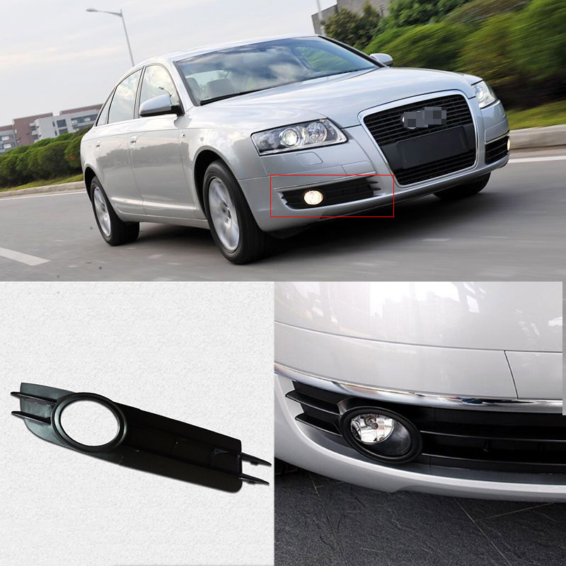 Ipoboo Black Auto Front Bumper Driving Fog Lights Cover Lamp Frame Trim For Audi A6 C6 2005-2008 car front bumper mesh grille around trim racing grills 2013 2016 for ford ecosport quality stainless steel