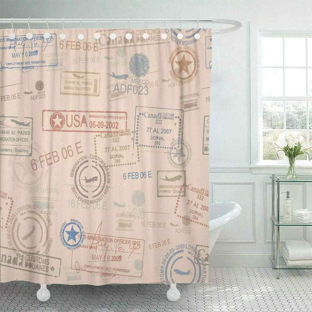 Fabric Shower Curtain With Hooks Beige Quilt Vintage