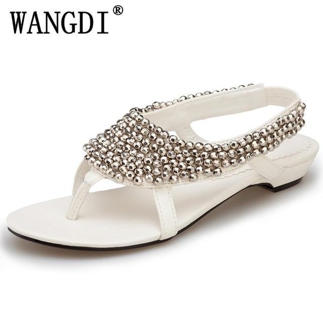 3fc4348bdd35 2018 latest fashion Summer flat sandals women Bohemia Handmade Beaded  Female Sandals Pearl Rhinestone Flat Sandals
