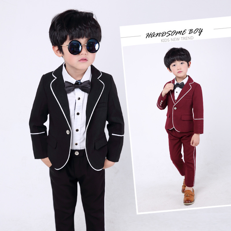 2b255b9dc US $33.95 30% OFF|High quality 2018 new children's handsome small suit  Korean baby dress suit boy British wind three piece suit-in Blazers from  Mother ...