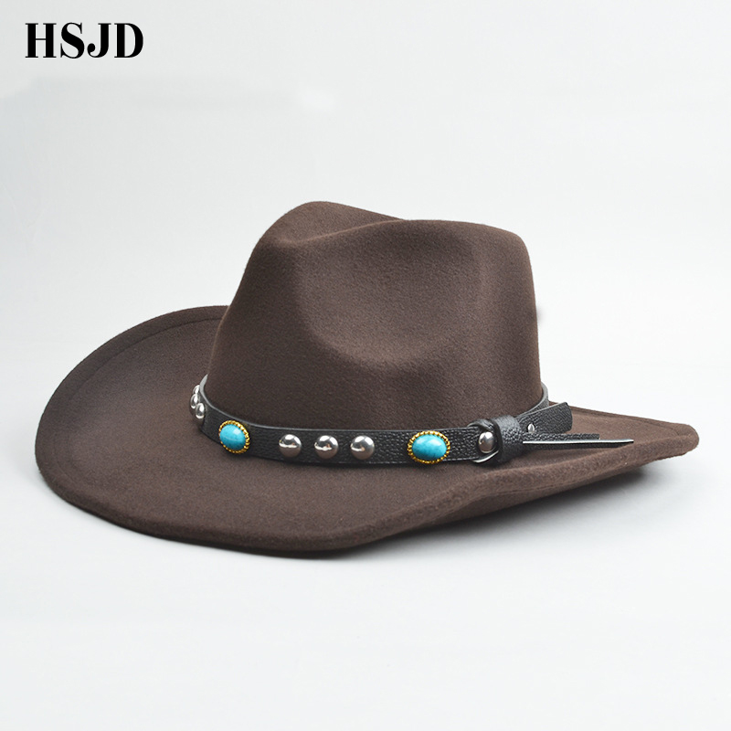Vintage Western Cowboy Hats For Men Wide Brim Sun Visor Cap Sombreros Autumn  Winter Felt Hat ... bcc06229b386