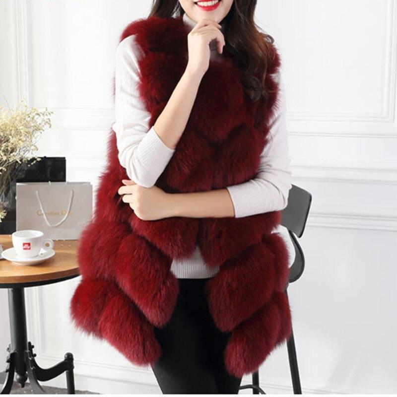 Offre spéciale nouveau femmes hiver sans manches en fausse fourrure de renard en cuir épais manteau survêtement gilet grande taille rembourré veste pardessus Parka B076
