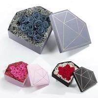 2 Pcs A Set Flower Packing Diamond Pattern Box Flower Packaging Boxes Florist Gift Packaging Supply Wedding Party Decoration