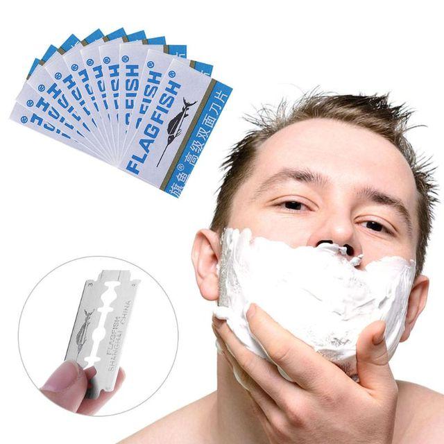 10 piezas de doble filo de la hoja de repuesto ajuste Manual de maquinilla de afeitar hombres barba recortadora cuidado Facial pelo bigote quitar