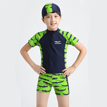 New Models 4-12 years old Boys Rash Guards Two Piece Swimsuit Kids Swimwear Crocodile pattern Children Bathing Suit Swimming