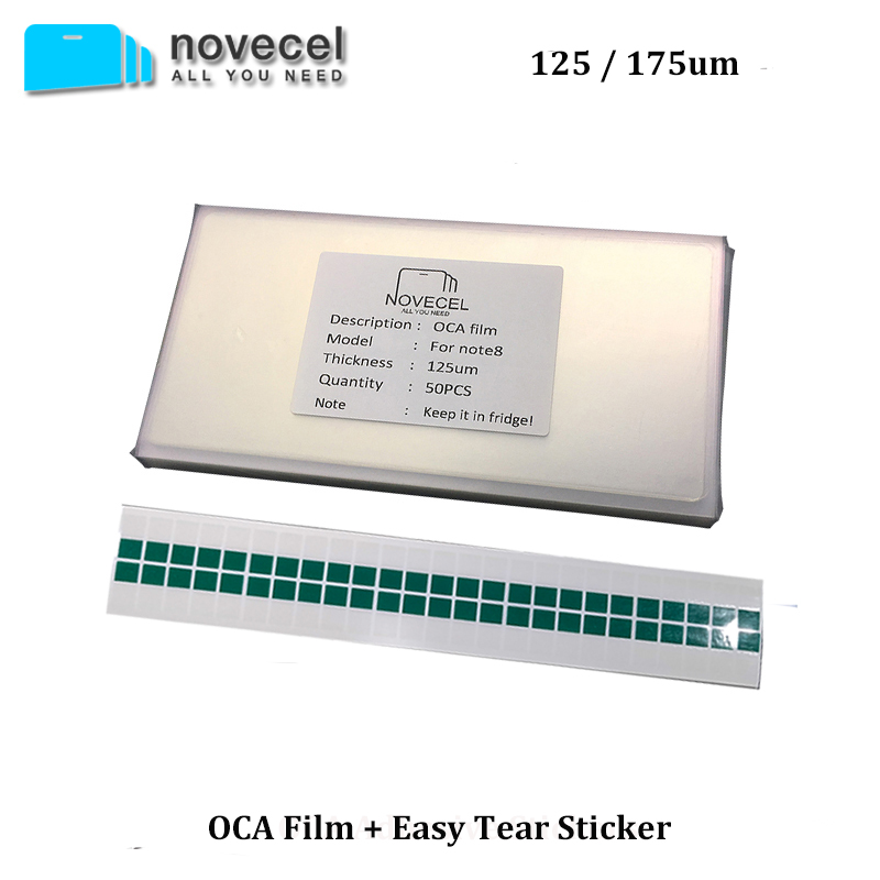 Novecel 50pcs 175/125um OCA Optical Clear Adhesive For S6 S7 Edge S8 S8+ Note8 G955 G950 N950 OCA Glue LCD Touch Glass Lens Film