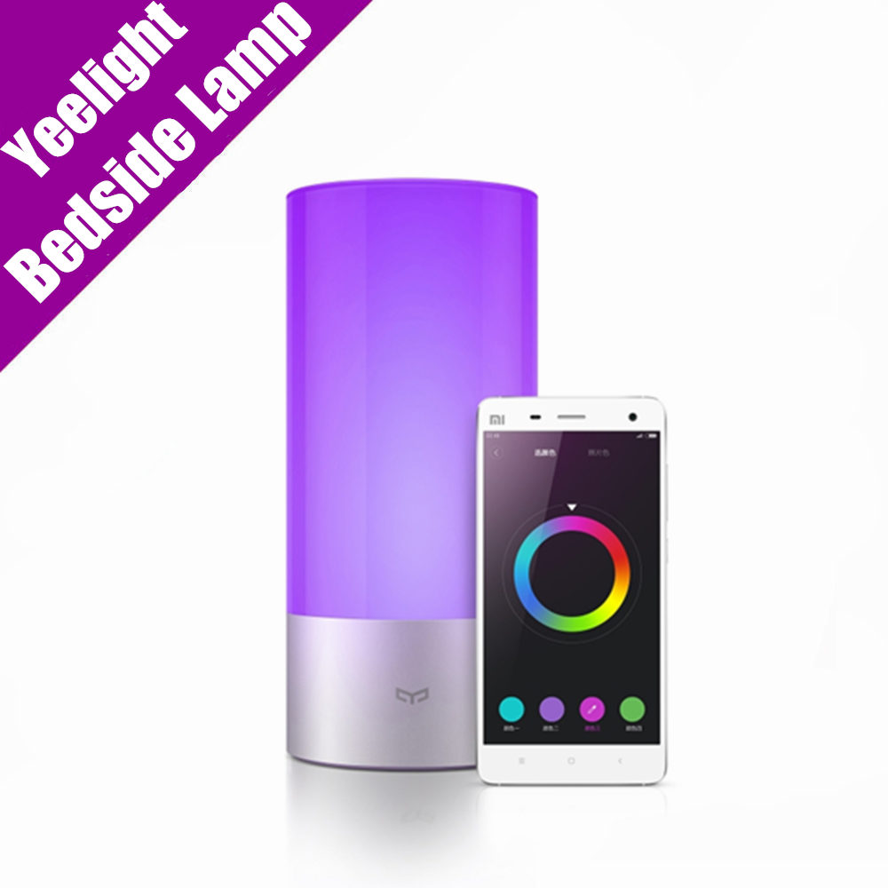 Original Xiaomi Yeelight Smart Bedside Lamp Indoor Bluetooth LED Light 16 Million RGB Touch Control for Smart Phone App Control 2016 yeelight original smart night lights indoor bedside lamp 16 million rgb lights touch control bluetooth for phone xiaomi