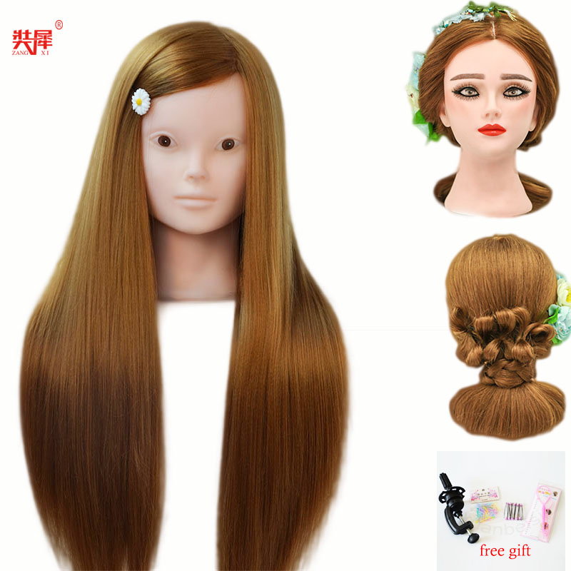 Female mannequin head with blonde hair for braid hairdressing without makeup face dolls head dummy long hair training head