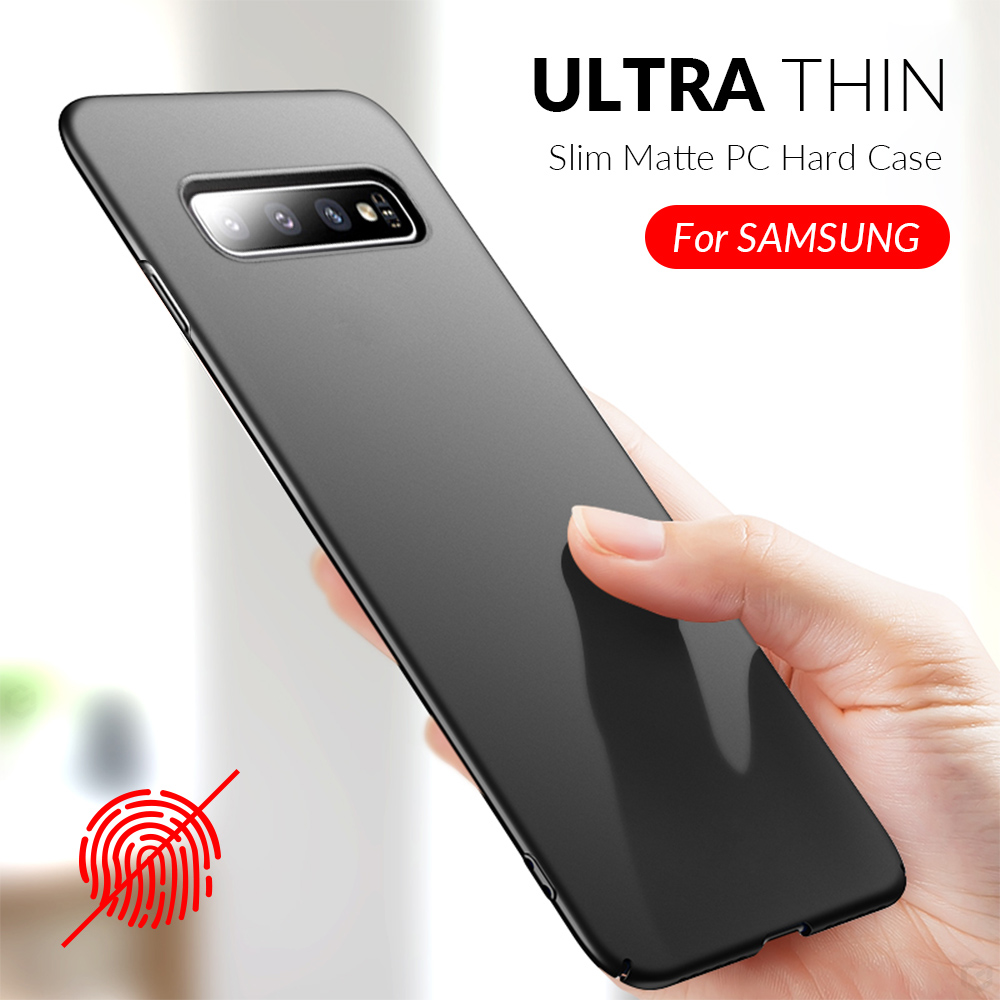 Slim Phone Case For Samsung Galaxy S10 S9 S8 Plus A50 A7 2018 A8 A6 A30 A40 A70 A80 Note 8 9 10 Plus Case Hard PC Matte Cover(China)