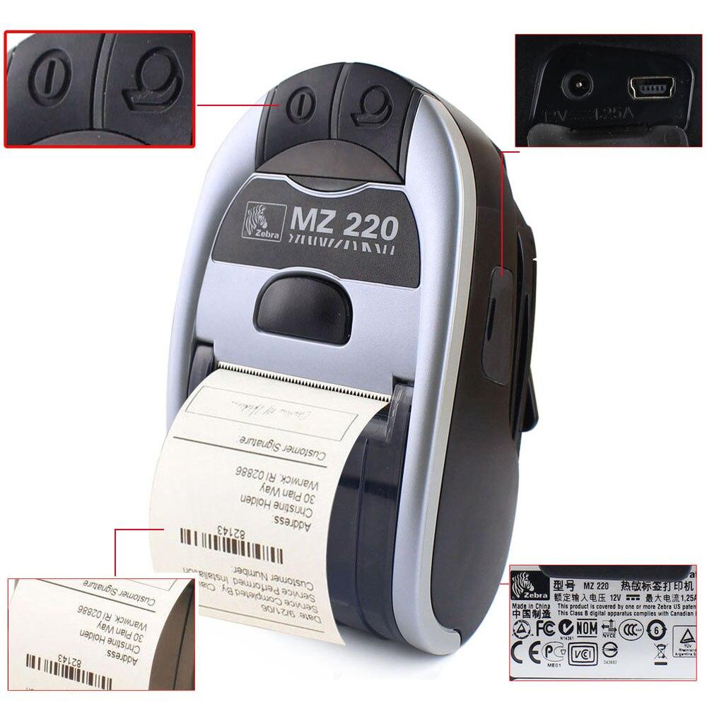 100% Neue Original Für Zebra MZ220 Drahtlose Bluetooth Mobile Thermische Drucker Für 48mm Ticket Oder Label Tragbare Drucker 203 dpi