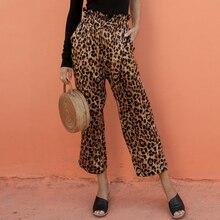 Conmoto Ruffles Elastic Waist Vintage Women Trousers Leopard