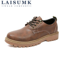 2019 LAISUMK British Mens Shoes Retro Low Casual Leather Ankle Boots Classics