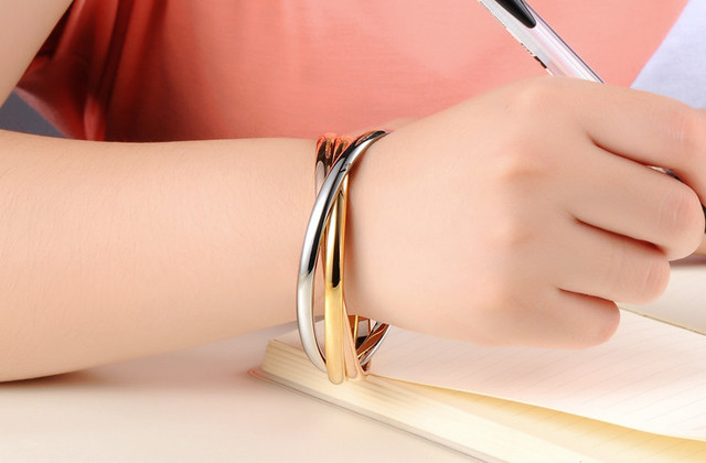 Fashion Jewelry Stainless Steel Gold Colour Bangle 3 Color Set Bracelet & Bangle