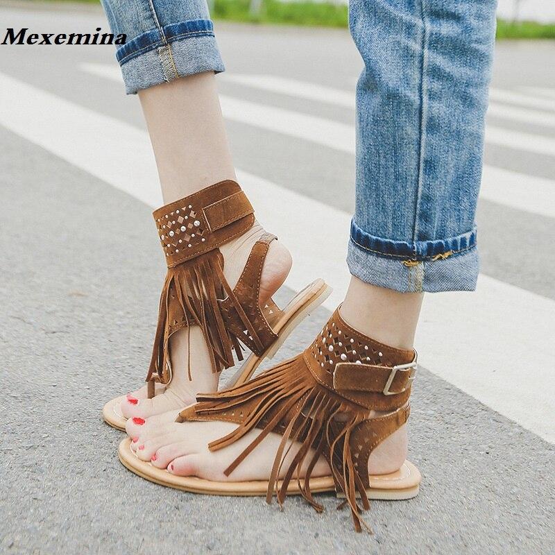 Mexemina 2018 Black white Sexy Women Tassel Sandals Open Top Zipper Sandals Woman Shoes Plus Big