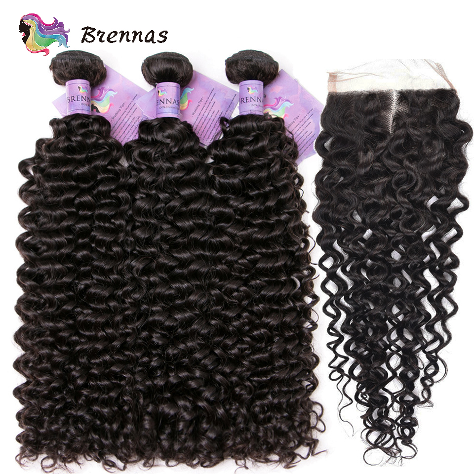 Jerry Curly hair bundles with closure 100 Brazilian human Remy curly hair with 4x4 lace closure