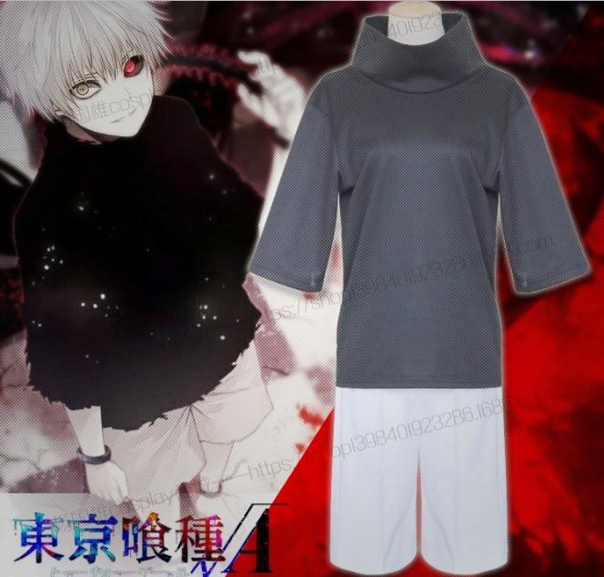 Anime Tokyo Ghoul Kaneki Ken Cosplay Costumes Full Set ( Top + Shorts ) Daily Costume Size S-XXL
