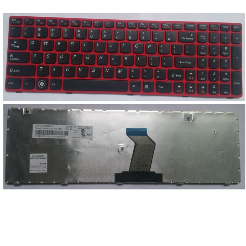 US red 100%New English Replace laptop keyboard For Lenovo G580 Z580A G585 Z585 G780 G770 G590