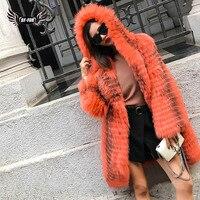 BFFUR пальто с натуральным мехом вся кожа длинное пальто Для женщин 2018 Новая мода Тонкий с капюшоном русская зима Полный пальто лиса Меховая к